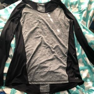 Black and grey tight fitting athletic shirt